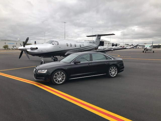 AusChauffeur Audi A8L on tarmac with Pilatus PC-12