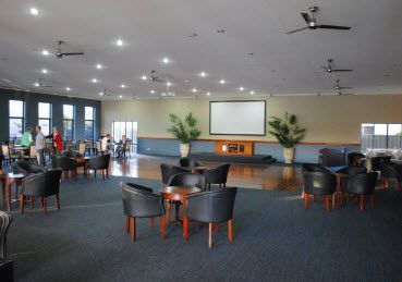 Inside the recreational centre, view of ballroom, function and general commune area