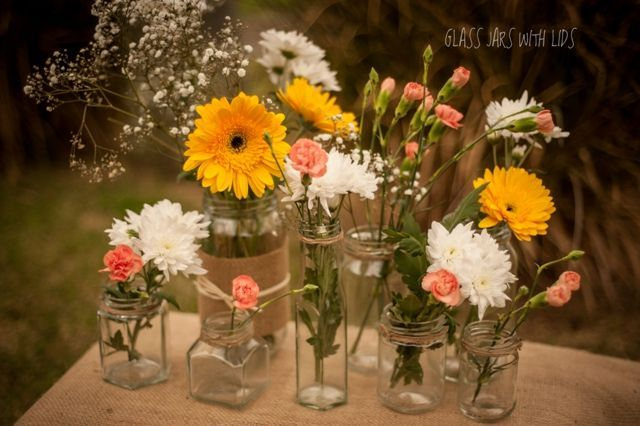 Rustic wedding flower vases rustic glass jars use for flower vases affordable wedding table centrepieces junglespirit Image collections