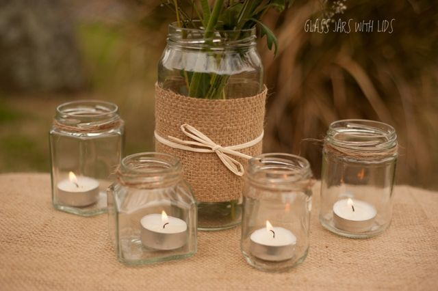 Rustic wedding flower vases rustic glass jars use for - Glass vases for wedding table decorations ...