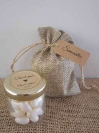 Personalised White Jelly Bean Jars Rustic Wedding Favours Australia